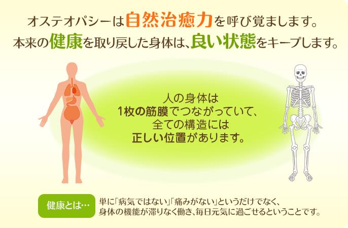 オステオパシーは自然治癒力を呼び覚まし、本来の健康を取り戻した身体は、良い状態をキープします