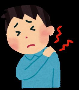 肩の痛みに悩む男性のイラスト